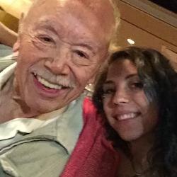 97-year-old Sal Meraz with his granddaughter Emily